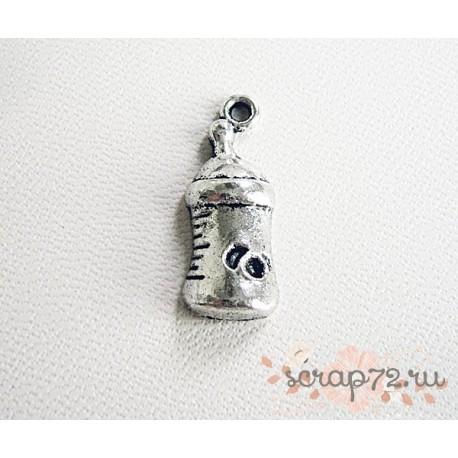 Подвеска металлическая  Бутылочка детская серебристая, 24*9мм, 1шт