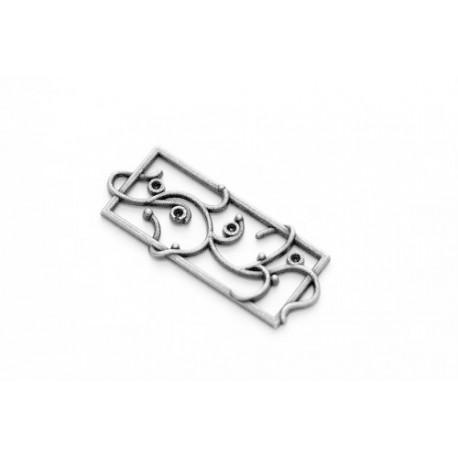 Подвеска металлическая   ЦВЕТОЧНАЯ РАМКА, серебро, 14*40мм, 1 шт