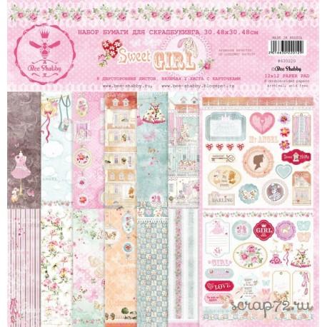 Набор бумаги для скрапбукинга SWEET GIRL,  8 двустор. листов, 190 г/м, 30.5х30.5 см