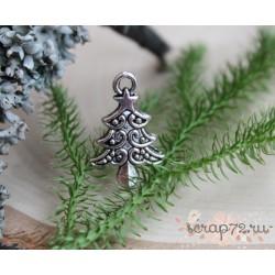 """Подвеска металлическая """"Рождественнская елка"""", серебро, 14*21мм, 1 шт."""