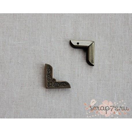 Уголки металлические, бронза, 20*28 мм, 1 шт