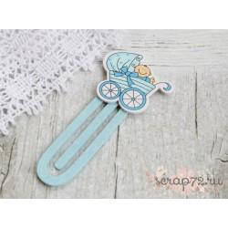 """Скрепка деревянная """"Детская коляска"""", цвет голубой, 38*90мм, 1 шт"""