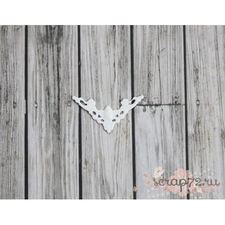 Металлический ажурный треугольник с узором, цвет белый, 22*30мм, 1 шт