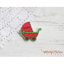 Деревянные пуговицы Детская коляска, красный, 32*34мм, 1шт