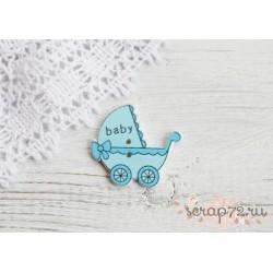 Деревянные пуговицы Детская коляска, голубой, 32*34мм, 1шт