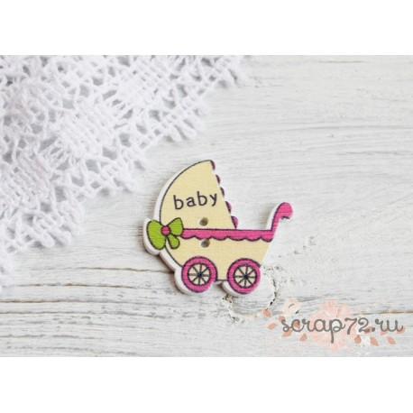 Деревянные пуговицы Детская коляска, светло-желтый, 32*34мм, 1шт