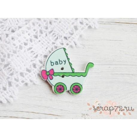 Деревянные пуговицы Детская коляска, бирюзовый, 32*34мм, 1шт