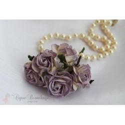 Кудрявые розы, белые с фиолетовой окантовкой, 5см, 1шт.