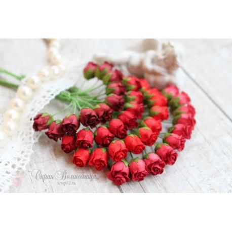 Роза кудрявая в бутонах, 8-10мм, оттенки красного, 4шт