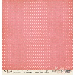 Лист бумаги для скрапбукинга 30,5х30,5 см 190 гр/м односторон Горох Коралловый