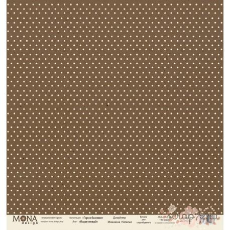 Лист бумаги для скрапбукинга 30,5х30,5 см 190 гр/м односторон Горох Коричневый