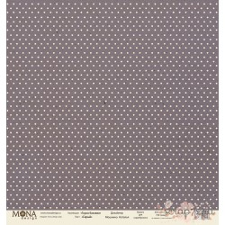 Лист бумаги для скрапбукинга 30,5х30,5 см 190 гр/м односторон Горох Серый
