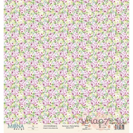 Лист бумаги для скрапбукинга 30,5х30,5 см 190 гр/м односторон Fancy Spring 3544