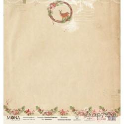 """Лист бумаги для скрапбукинга 30,5х30,5 см 190 гр/м односторон """"Сказочное Рождество"""" Оленёнок"""