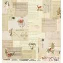 """Лист бумаги для скрапбукинга 30,5х30,5 см 190 гр/м односторон """"Сказочное Рождество"""" Письма Деду Морозу"""
