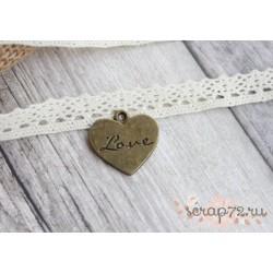 Металлическая подвеска Сердце Love, 20*22мм, 1шт.