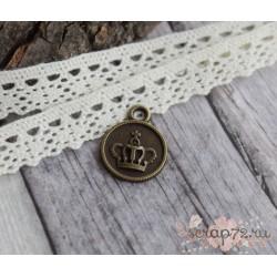 Металлическая подвеска Монета с кароной, 18*14мм, 1шт.