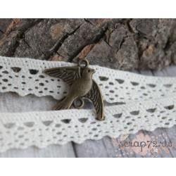 Металлическая подвеска Птичка, 15*20мм, 1шт.