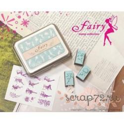 Набор резиновых штампов Fairy в жестяной баночке, 12шт