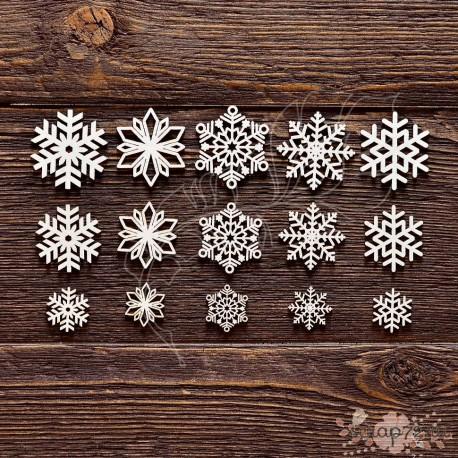 Чипборд Набор снежинок,  15 элем. 14,8*8,7 см.,  CB156