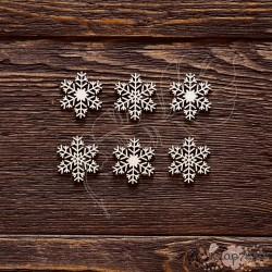Чипборд Набор снежинки №3,  6 элементов,размер снежинки 2,5 см,  CB401