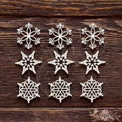 Чипборд Набор снежинки №5,  9 элементов, размер снежинки 3 см,  CB403