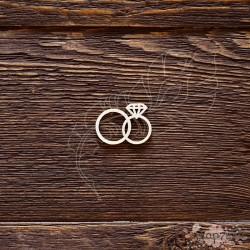 Чипборд Обручальные колечки с алмазом,  3*2,1см,  CB494