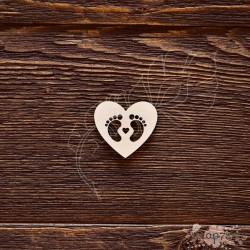 Чипборд Сердечко с пяточками,  3,3*3 см,  CB567