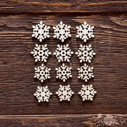 Чипборд Набор снежинок №8,  12 элем. 1.9см, 2.1см,  CB590