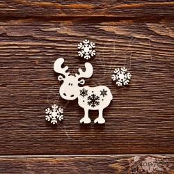 Чипборд Лосик и снежинки,  4,5*4,9см,  CB598