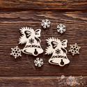 Чипборд Набор Новогодние колокольчики,  4*4,5см - 1 колок.,  CB599