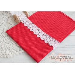 Хлопок Мелкий белый горошек на красном, 45*50см