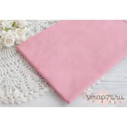 Хлопок Мелкий белый горошек на розовом, 40*50см