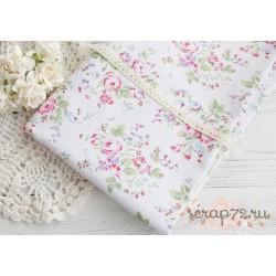Лен Пионы с лиловыми цветочками, 50*50см