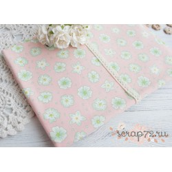 Лен Цветы на розовом фоне, 45*50см