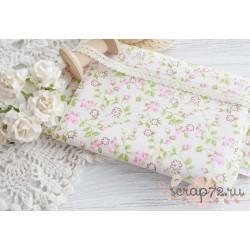 Хлопок Нежно-розовые цветочки и бутончики, 50*50см