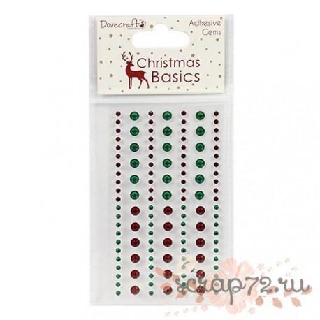 Клеевые камушки Dovecraft Christmas Basics Gems, цвет красный и зеленый, 124шт.