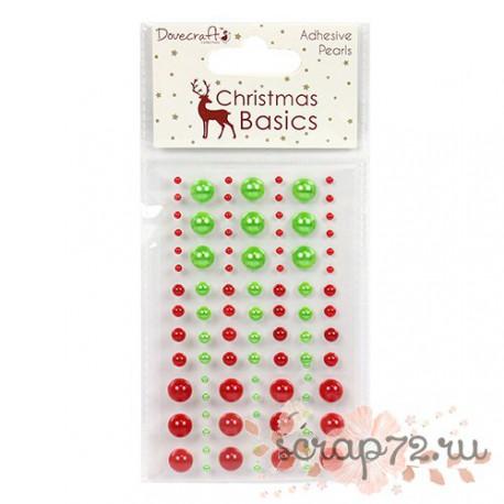 Клеевые полужемчужинки Dovecraft Christmas Basics Pearls, цвет красный и зеленый, 91шт.