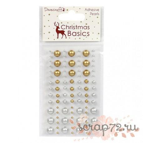 Клеевые полужемчужинки Dovecraft Christmas Basics Pearls, цвет серебро и золото, 91шт.