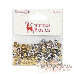 Набор пайеток Dovecraft Christmas Basics Sequins, цвет золото и серебро