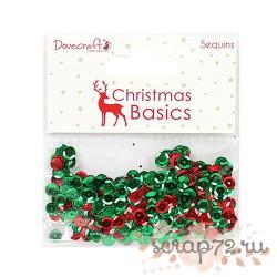 Набор пайеток Dovecraft Christmas Basics Sequins, цвет красный и зеленый