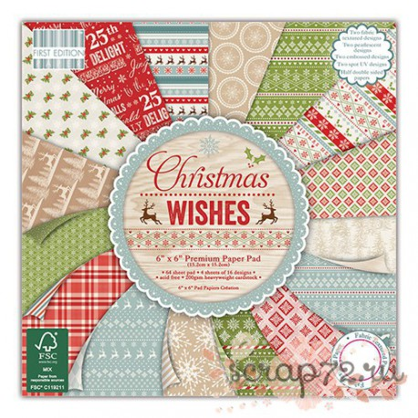 1/3 набора бумаги First Edition Christmas Wishes , 30*30см, 16л, 200гр