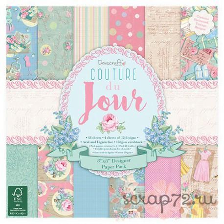 1/4 набора бумаги Dovecraft Couture du Jour, 20*20см, 12л, 150гр