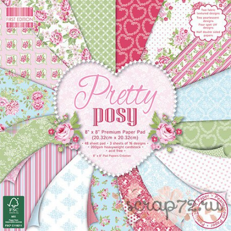 1/3 набора бумаги First Edition Pretty Posy, 20*20см, 16л, 200гр