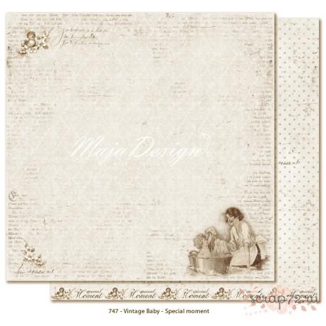 Лист двусторонней бумаги MajaDesign  Vintage Baby - Special moment, 30*30см