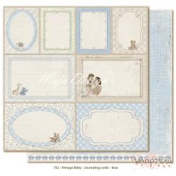 Лист двусторонней бумаги MajaDesign  Vintage Baby - Journaling cards blue, 30*30см