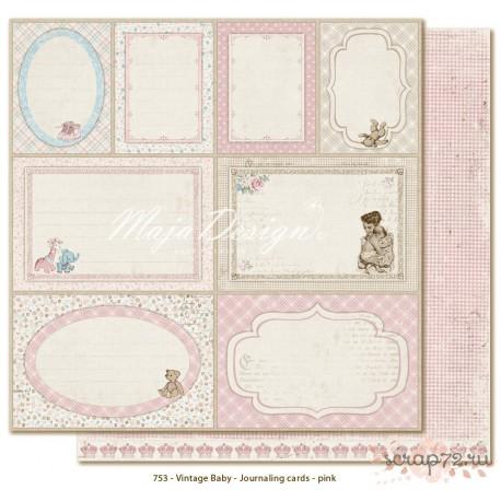 Лист двусторонней бумаги MajaDesign  Vintage Baby - Journaling cards pink, 30*30см