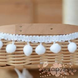 Тесьма с помпонами, П/Э 2.3 см, цвет белый, 1 м