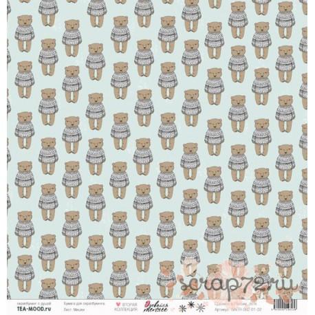 Лист «Мишки» из коллекции «Одевайся теплее», 30,5 x 30,5 см