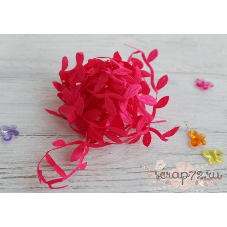 Лента декоративная Листочки, цвет фуксия, 2.5см*1м
